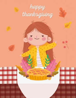 Szczęśliwego święta dziękczynienia cute girl with cake acorns obrus