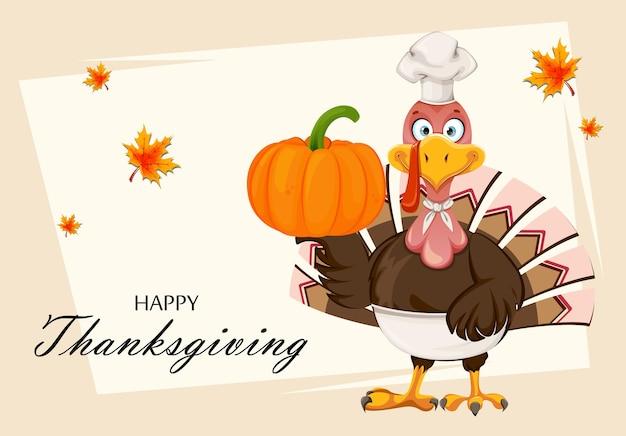 Szczęśliwego święta dziękczynienia. indyk szef kuchni dziękczynienia