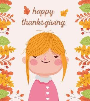 Szczęśliwego święta dziękczynienia ładna dziewczyna jesiennych liści dekoracji