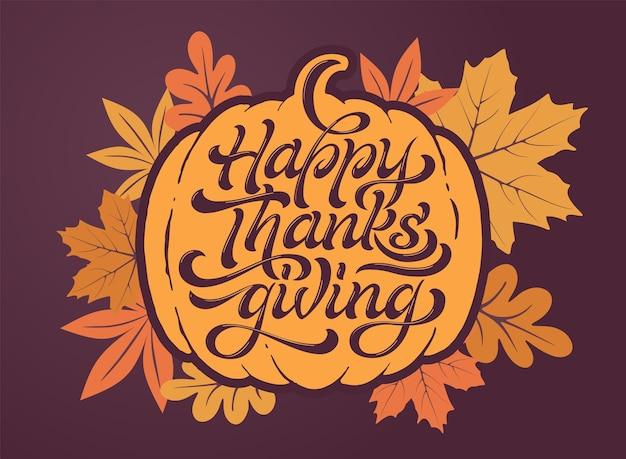 Szczęśliwego święta dziękczynienia piękny napis