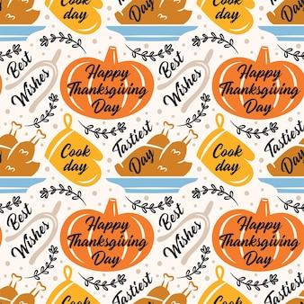 Szczęśliwego święta dziękczynienia. pomarańczowa dynia, rękawica kuchenna, indyk. wzór