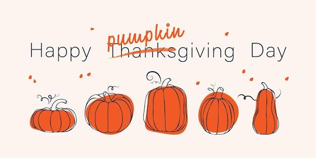 Szczęśliwego święta dziękczynienia śliczna kartka z życzeniami ręcznie rysujące dynie o różnych kształtach