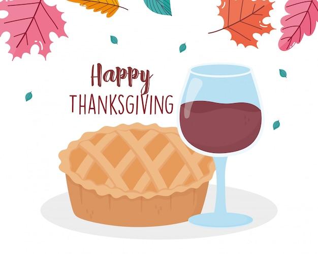 Szczęśliwego święta dziękczynienia smaczne ciasto i kieliszek do wina