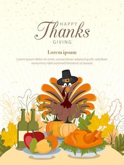 Szczęśliwego święta dziękczynienia z warzywami i kolorowymi liśćmi.