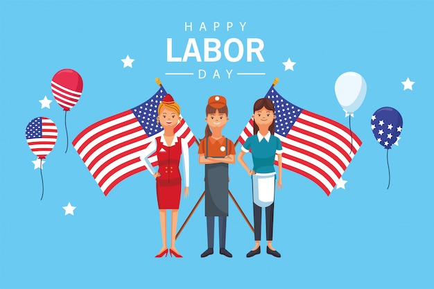 Szczęśliwego święta pracy z pracownikami i flagami