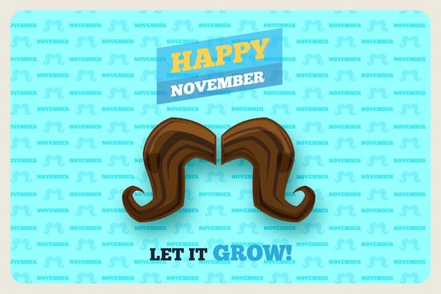 Szczęśliwego tła movember z ogromnym wąsem