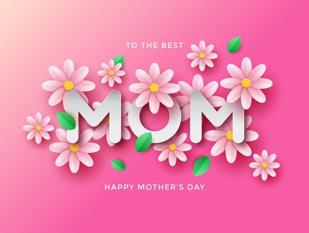 Szczęśliwego tła na dzień matki z pięknymi kwiatami rumianku wyciętymi z papieru.