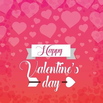 Szczęśliwego valentines dnia karcianego powitania serc spada miłość