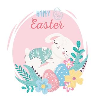 Szczęśliwego wielkanocy sypialny królik z jajkami na kwiat naturze, kartka z pozdrowieniami