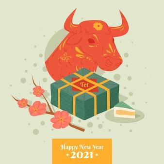 Szczęśliwego wietnamskiego nowego roku 2021 i byka