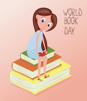 Szczęśliwej dziewczyny czytelnicze książki ilustracyjne dla światowego książkowego dnia