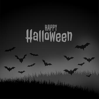 Szczęśliwej halloween nocy straszna scena z latającymi nietoperzami