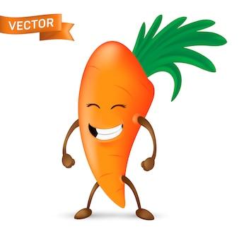 Szczęśliwej kreskówki maskotki marchwiany charakter z rękami i nogami odizolowywającymi. śmiejąc się i mrużąc oczy z bukietem zieleni na głowie. ładna i zabawna ikona organicznych warzyw.
