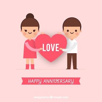 Szczęśliwej rocznicy karty z cute para w stylu płaski