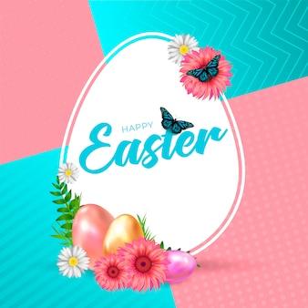 Szczęśliwej wielkanocy różowy i błękitny tło z kolorowym jajkiem