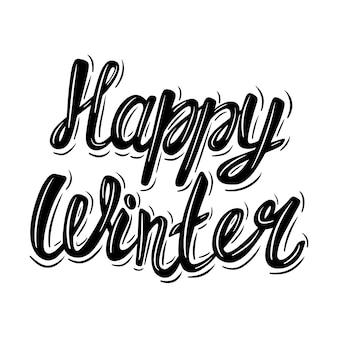 Szczęśliwej zimy. frazę napis w stylu vintage na białym tle