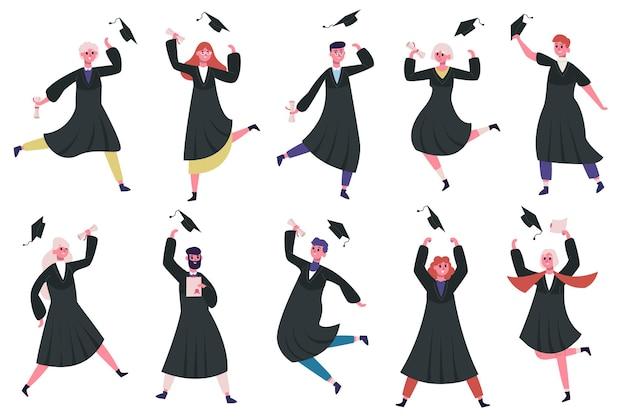 Szczęśliwi Absolwenci Tańca. Grupa świętujących Absolwentów Uniwersytetów Lub College'ów Premium Wektorów