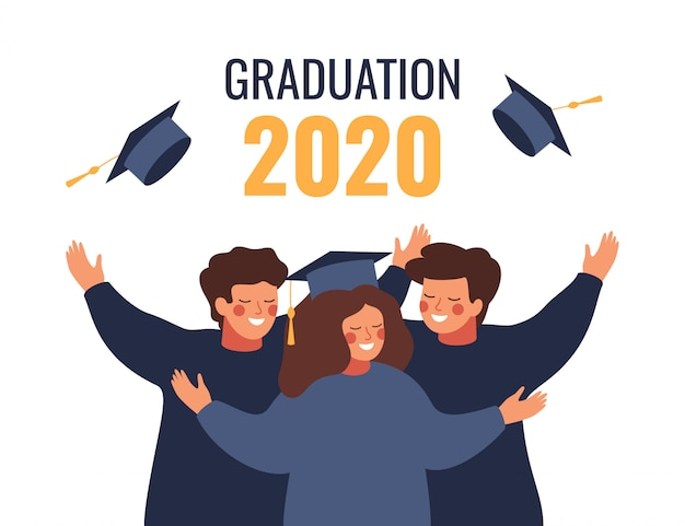 Szczęśliwi absolwenci w akademickich sukniach rzucają w powietrze czapki dyplomowe. wektor