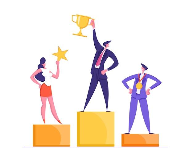 Szczęśliwi biznesmeni stojący na zwycięskim podium z zestawem strony docelowej koncepcji nagrody