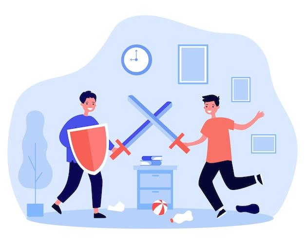 Szczęśliwi chłopcy bawią się i walczą na plastikowe miecze. tarcza, rycerz, ilustracja pokoju. koncepcja gry i dzieciństwa na baner, stronę internetową lub stronę docelową