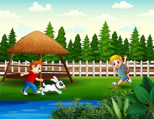 Szczęśliwi chłopcy biegający i bawiący się na ilustracji w parku