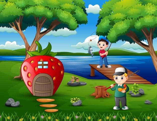 Szczęśliwi chłopcy wędkowanie na rzece ilustracji