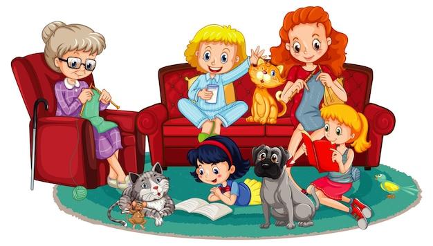 Szczęśliwi członkowie rodziny i zwierzęta