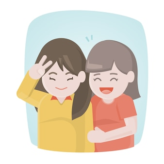 Szczęśliwi dwa dziewczyn przyjaciele śmia się wpólnie i ściska