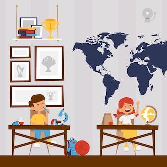 Szczęśliwi dzieci w szkole, ilustracja. postaci z kreskówek chłopiec i dziewczynka, uśmiechnięte dzieci studiujące w klasie.