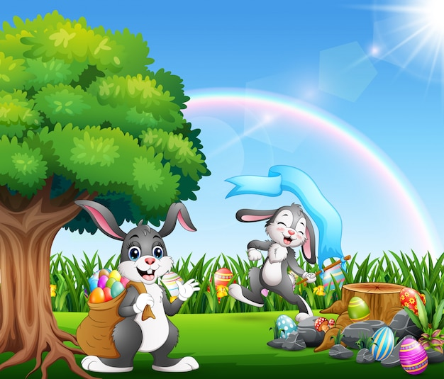 Szczęśliwi easter króliki na natura parku