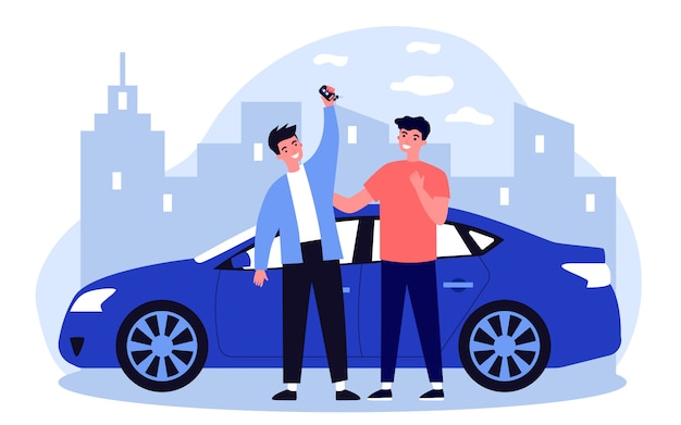 Szczęśliwi faceci świętują kupno samochodu