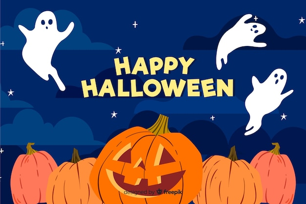 Szczęśliwi halloween duchy i dyniowy tło