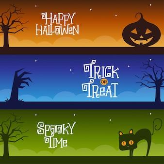 Szczęśliwi halloweenowi sztandary ustawiająca projekta wektoru ilustracja