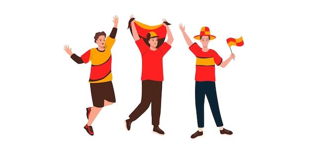 Szczęśliwi kibice kibicują i wspierają swój zespół. ilustracja wektorowa w stylu cartoon