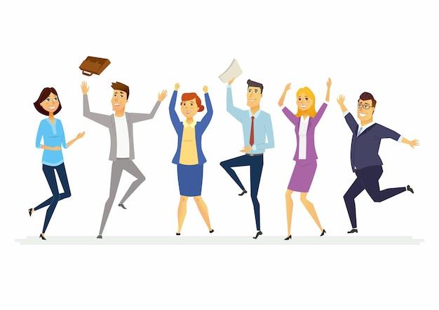Szczęśliwi koledzy z pracy - nowoczesne postacie z kreskówek izolowane ilustracja z pracownikami w formalnych ubraniach machających rękami i skaczącymi z radości