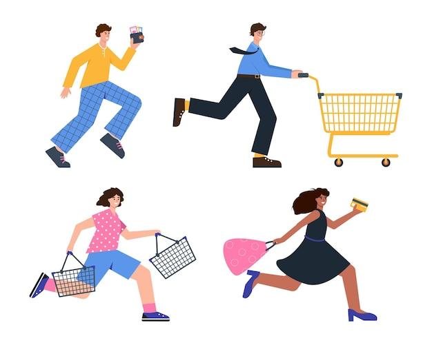 Szczęśliwi ludzie biegają po zakupy i zniżki zakupoholicy lub kupujący z wózkiem i koszem