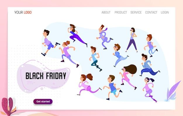 Szczęśliwi ludzie biegną na wyprzedaż w czarny piątek ruszyła strona docelowa witryny ze zniżkami