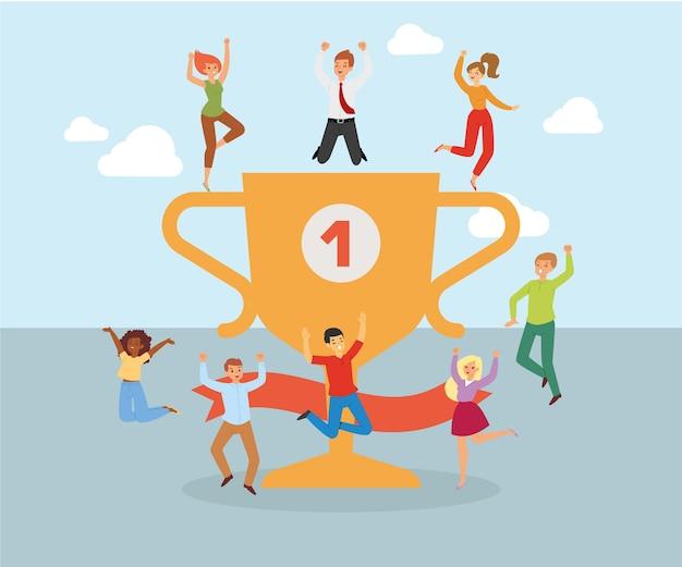 Szczęśliwi ludzie biznesu, ludzie sukcesu postaci kompozycji, koncepcja uroczystości biurowych, ilustracja. praca zespołowa zawodowa grupa sukcesu, udany zawód.