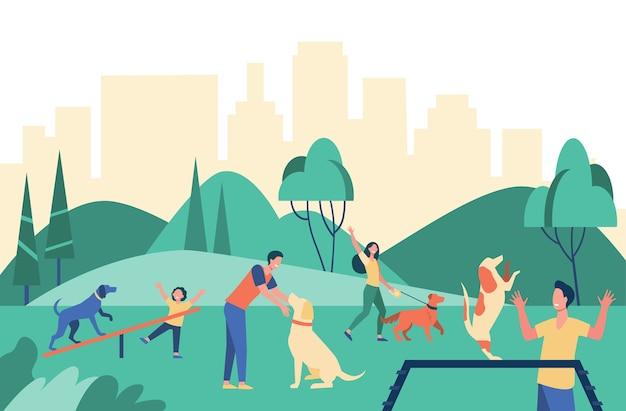 Szczęśliwi ludzie chodzą z psami w parku miejskim na białym tle płaska ilustracja.