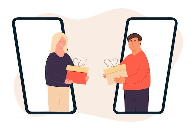 Szczęśliwi ludzie. daj sobie prezenty. kobieta daje mężczyźnie prezent. facet daje dziewczynie prezent przez telefon. wakacyjna niespodzianka. świętowanie bożego narodzenia. dobroczynność. pary dające i trzymające prezenty.