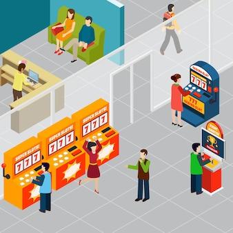 Szczęśliwi ludzie grający w automaty do gier 3d izometryczny