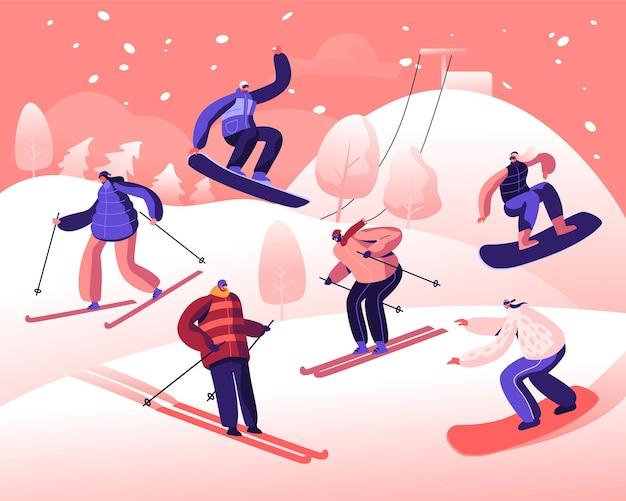 Szczęśliwi ludzie jeżdżący na snowboardzie i nartach na stokach śnieżnych. płaskie ilustracja kreskówka