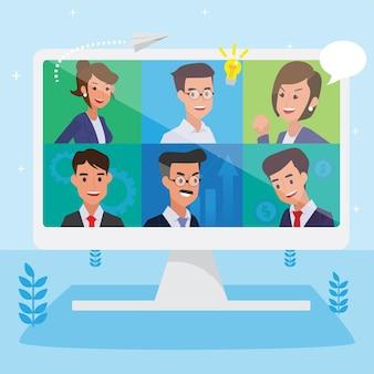 Szczęśliwi ludzie korporacji świętują, koncepcja sukcesu przywództwa i postępu kariery, płaska ilustracja