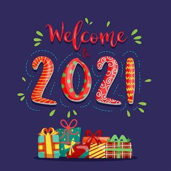 Szczęśliwi ludzie lub pracownicy biurowi, pracownicy mają wielkie liczby 2021. grupa przyjaciół lub zespół życzy wesołych świąt i szczęśliwego nowego roku