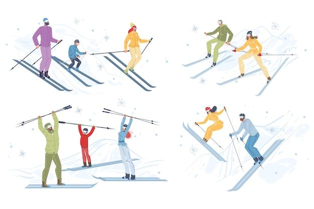 Szczęśliwi ludzie lubią jeździć na nartach.