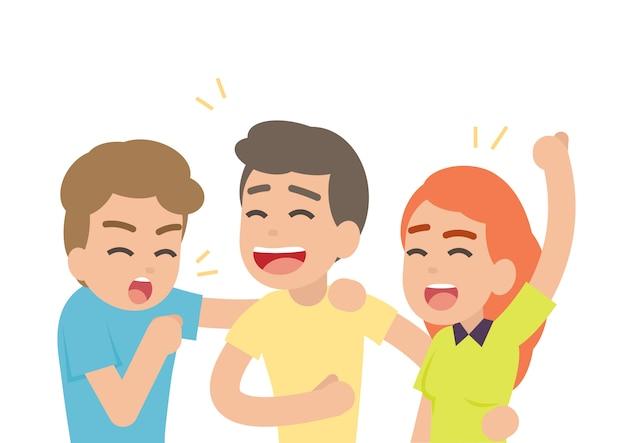 Szczęśliwi ludzie ma zabawę i uśmiecha się śmiać się wpólnie, przyjaźni pojęcie, wektorowa ilustracja.