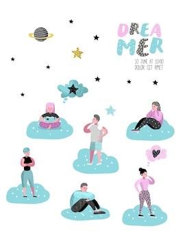 Szczęśliwi ludzie marzy o czymś plakat