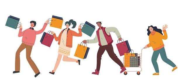 Szczęśliwi ludzie mężczyzna kobieta postacie biegają z torbami black friday sprzedaż koncepcja elementu projektu