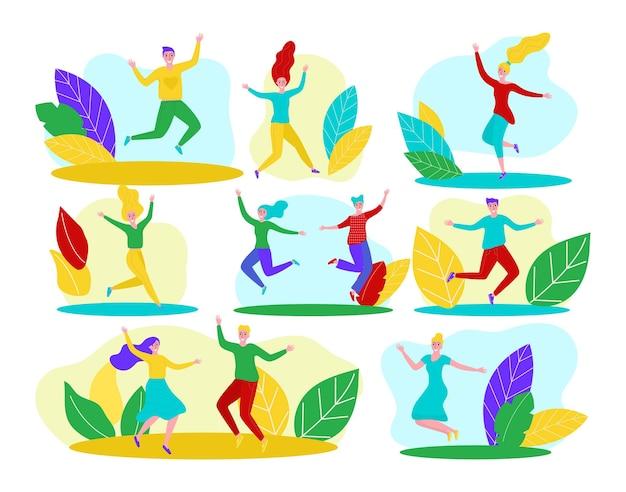 Szczęśliwi ludzie na białym tle zestaw ilustracji wektorowych młody mężczyzna kobieta osoba postać skok cheerfu...