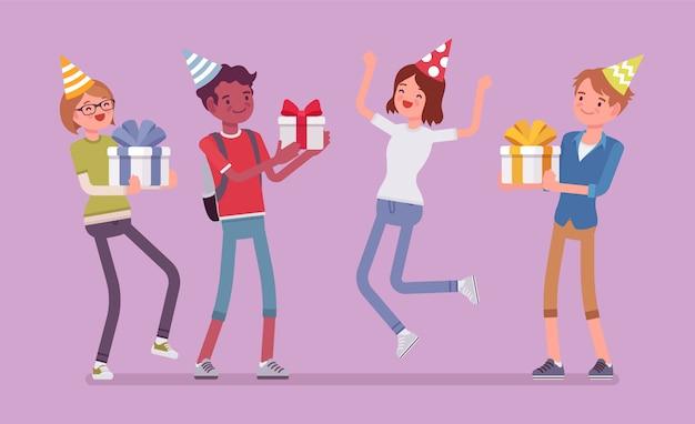 Szczęśliwi ludzie na przyjęcie urodzinowe. wesoły przyjaciele bawią się na imprezie, gromadzą zaproszonych gości, cieszą się imprezą, rozrywką i wręczaniem prezentów, stylowa ilustracja kreskówka